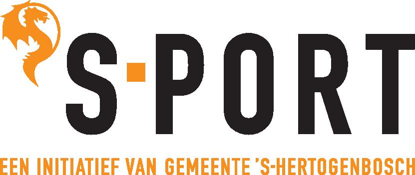 Zwart met oranje logo van sport. Een initiatief van de gemeente 's-Hertogenbosch.