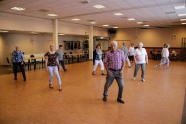 Groep mensen die linedans aan het dansen zijn